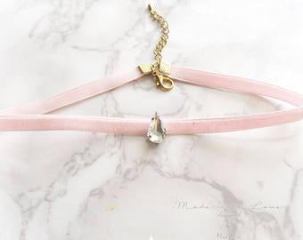 Choker Necklace Baby Pink Skinny Velvet  rhinestone Great Gatsby Jewelry Handmade Elegance ,victorian