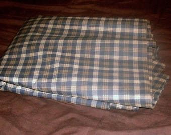 blue,white,brown plaid fabric 6yards