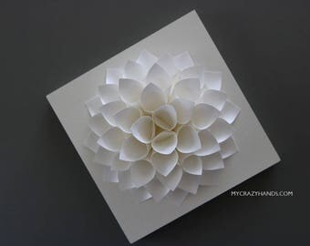 5 5/8'' paper dahlia with 6'' wooden canvas | origami flower || wedding gift ||| origami gifts | bridal shower backdrop -white