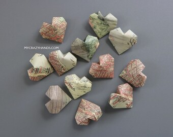 24 texture NYC map balloon hearts | origami heart favors || map theme wedding || gifts for map lovers -NYC treasure version