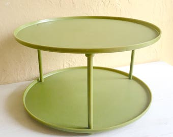 Vintage Double Shelf Avocado Green Lazy Susan Spinning Tray Rotating Plastic Mid-Century Storage Space Display