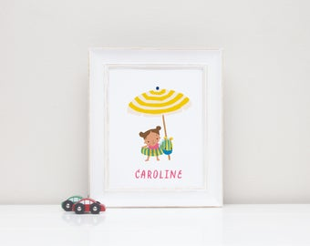 Digital Personalized Art Print for Girl's Room