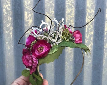Rhinestone Crown, Princess Crown, Crown Headpiece, Silver Crown, Crown Headband, Bridal Flower Crown, Queen Crown, Moss Crown, Flower Crown.