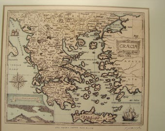 vintage,framed map of Greece, 1961 signed print of an antique Greek map, wooden frame, ready to hang