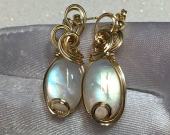 Rainbow MOONSTONE Earrings 14k Gold - Fill Wire Wrapped Jewelry 1216g4-2