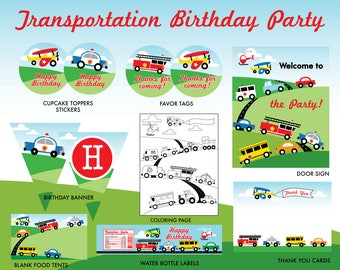 INSTANT DOWNLOAD - Transportation Birthday Party Printables, Transportation Party Package, Truck Printables, Car Decorations