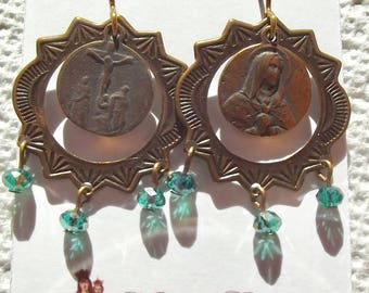 Our Lady of Sorrows Earrings Catholic Jewelry 7 Dolors Seven Mater Dolorosa Crucifixion