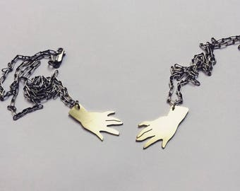 Brass Hand on Sterling Silver Chain