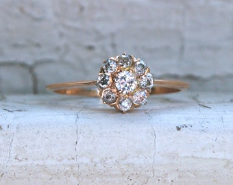 Gorgeous Antique 14K Yellow Gold Diamond Cluster Ring Engagement Ring - 0.42ct.