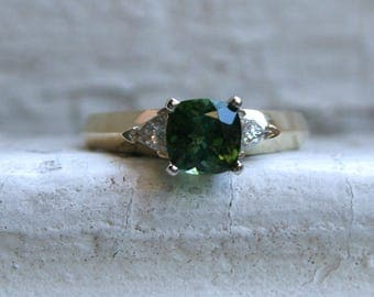 Vintage Three Stone 14K Yellow Gold Green Tourmaline and Diamond Ring - 1.25ct.