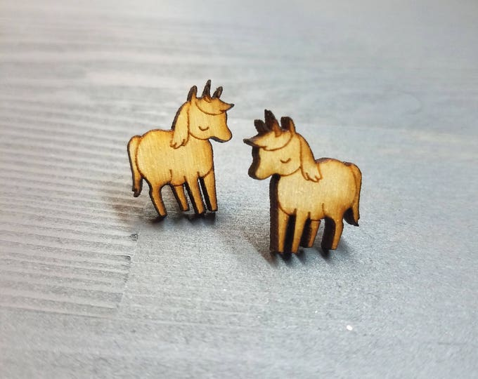 Sweet Unicorn Earrings | Laser Cut Jewelry | Hypoallergenic Studs | Wood Earrings