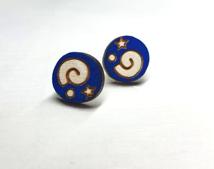 Animal Crossing Fossil Symbol Earrings   Laser Cut Jewelry   Hypoallergenic Studs