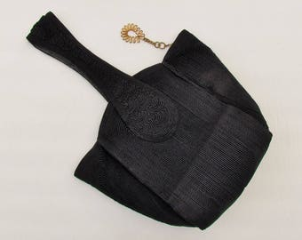 Vintage 1940's Corde purse, black small size corde bag with fancy metal zipper pull