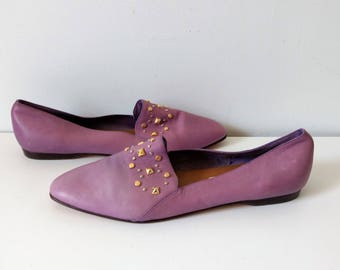 Vintage mauve purple jewel flats slip ons pumps, pointed toe flats, size 10