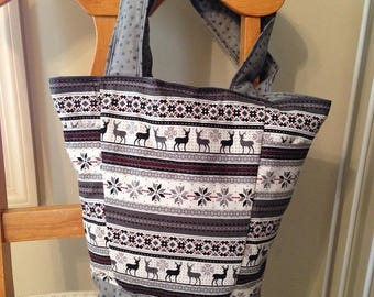 FINISHED Christmas Gray and Black Deer and Poinsettias Out N About Tote Bag Purse by Sew Practical, Mom and Pop Craft