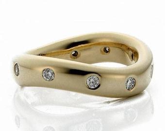 Almani 14k 5mm Yellow Gold Twisted Diamond Wedding Ring 0.50ctw.