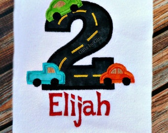 Embroidered birthday shirt with road numbers and cars, transportation theme,  personalized with name, numbers 1-5