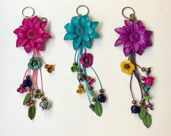 Liz colorful  leather  flower Purse Charm & Keychain - assorted colors