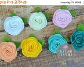 "ON SALE The Ellie Collection - 2"" Felt Rosettes - You Pick Colors - Felt Flowers Green Leaf - DIY Flower Headbands - Petite Flowers Wedding"
