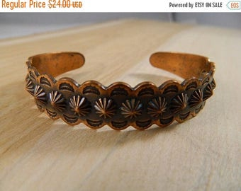ETSYCIJ Vintage Copper Bracelet / Small Stamped Solid Copper Cuff / Thin Copper Bangle