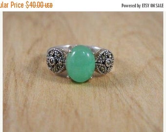 ETSYCIJ Vintage Sterling Silver, Jadeite and Marcasite Ring / 1920s Art Deco Style Ring / Mod Green Stone Ring Size 6