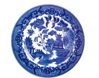 Vintage Blue Willow Plate Dark Cobalt Blue Black Mark Made in Japan 5 inch plate Asian Design Servingware Japanese Pattern