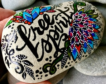 free spirit / painted rocks/ painted stones/ words on rocks / words on stones / hippie art / boho art / desktop art / gifts for artists