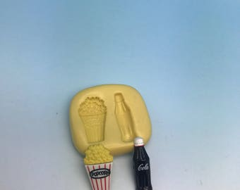 Coca cola and popcorn silicone mold set, cupcake decor, jewelry making, chocolate mold, soap making