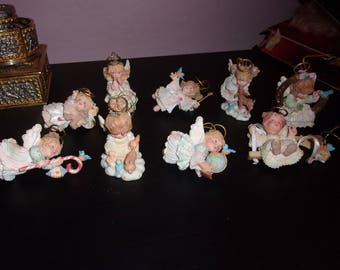 Set of 9 Hollyday Angels Ornaments from Ashton Drake by G.G. Santiago, 1996