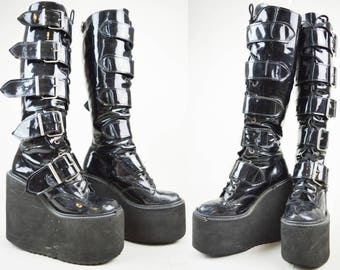 90s Goth Black Patent Shiny Buckled Knee High Platform Wedge Boots UK 3 / US 5.5 / EU 36