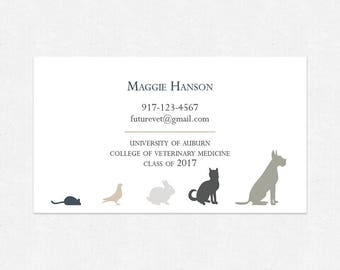 veterinary student business cards - thick - FREE UPS ground shipping