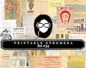 Vintage Ephemera Pack - Printable Ephemera Set #34 - 30 Page Instant Download - junk journal kit, journaling kit, ephemera paper pack