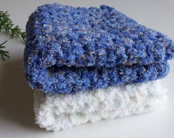 Set of Two Chenille Crochet Wash Cloths - Charity Listing