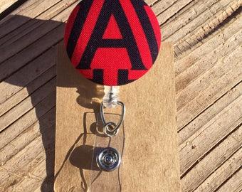 Arizona Design Fabric Button Retractable Badge Reel - U of A Badge Holder - Handmade U of A Design Fabric Button ID Holder
