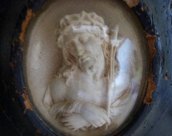 Victorian Meerschaum, Benitier, Jesus Christ, Beautifully Carved.  Religious, French  Circa 1860-1870