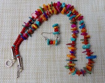 20 Inch Southwestern or Boho Colorful Mother of Pearl, Turquoise, and Red Glass Bead Necklace with Earrings