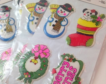 vintage nos christmas puffy stickers, snowman, wreath, stocking, xmas, by frank's, set of 3 sheets, 12 stickers