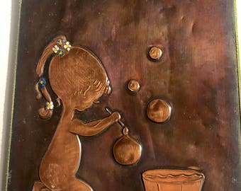 Vintage Hammered Copper Wall Art. Little Girl Blowing Bubbles