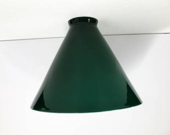 """2719 Antique Green Cased Glass Lamp Shade 2 1/4"""" Holder c1910"""