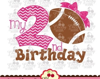 My 2nd Birthday Football with bow Silhouette & Cricut Cut design,football clip art -Personal and Commercial Use SPA02