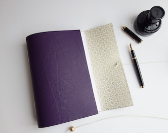 Purple Leather Wedding Journal Planner Gift, Dot Grid Lined Journal, Dotted Book, bujo, Blank Book, Purple Leather, Mindfulness Journal