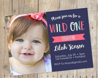SUMMER SALE Wild One Baby Girl 1st First Birthday Invitation Printable or Printed Cards