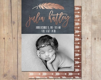 SUMMER SALE Tribal Feather Rose Gold Birth Announcement Card Custom Photo Card 5x7 Professionally printed cards or Printable