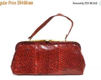 Vintage Red Snakeskin Handbag 1950s
