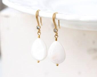 796_ Gold mother of pearls earrings, MOP earrings, Gold drop earrings, White MOP earrings, Cubic Zirconia earrings CZ Teardrop earrings.