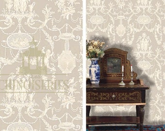 Dollhouse Miniature Wallpaper, Avignon, Scale One Inch