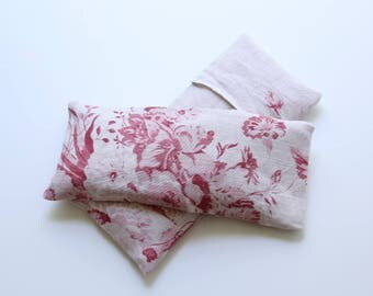 Eye Pillow Pink/Red Cabbages & Roses Floral Linen with Insert and Washable Cover,  Flax/Lavender