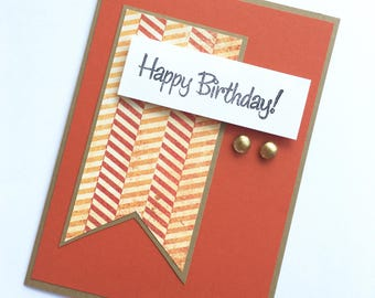 Red and Orange Chevron Birthday Card **READY TO SHIP**