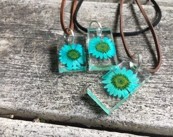 Dued, Pressed & Preserved Blue Daisy enclosed within Rectangular Square Pendant, Black or Brown Suede Leather Necklace