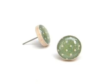 Moss Green Stud Earrings • Polka Dot Post Earrings • Gifts For Her • Simple Everyday Earrings • Dainty Earrings